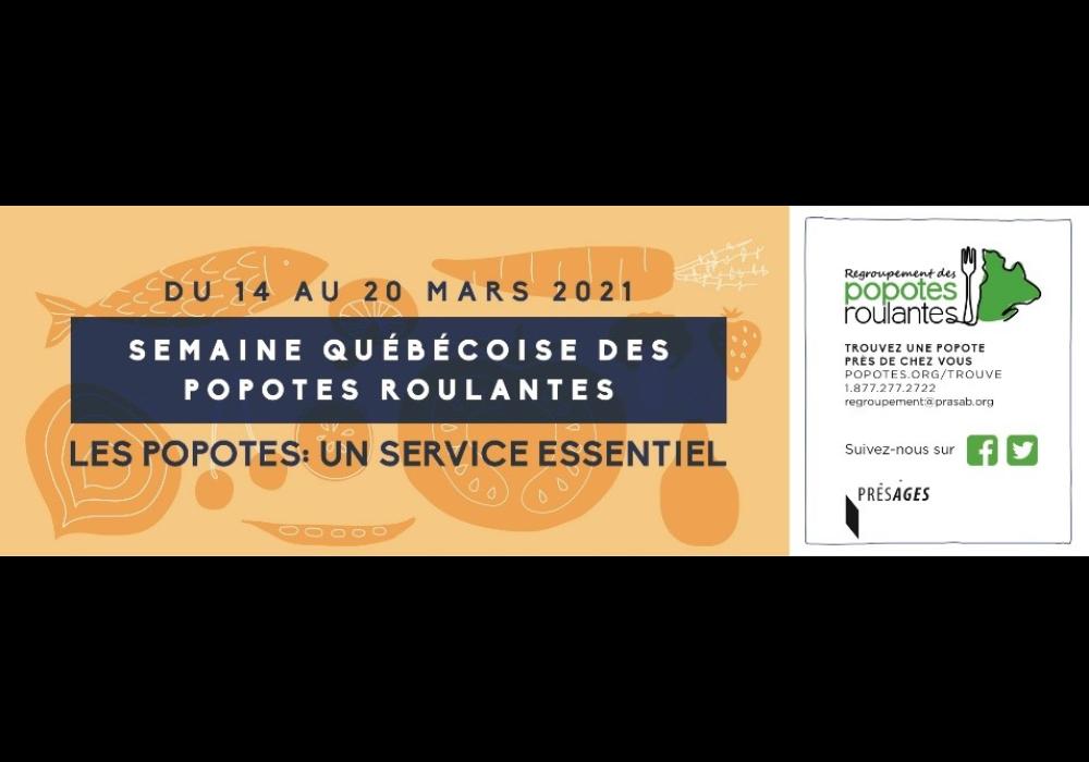 La Semaine québécoise des popotes roulantes 2021 se tiendra du 14 au 20 mars sous le thème « Les popotes : un service essentiel »